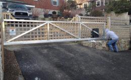 Aluminum framed wood sliding gate
