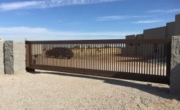New Mexico residence with cantilever gate