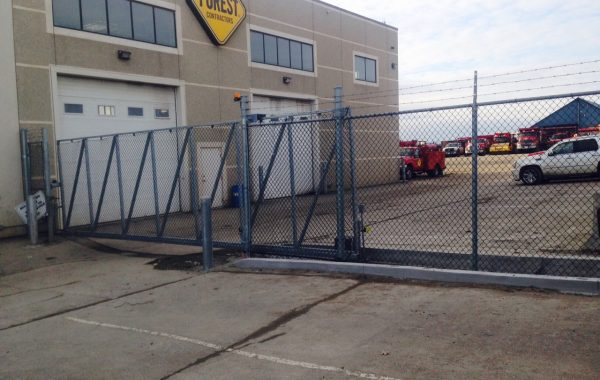 Chain Link Sliding Gate at Contractor Yard