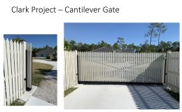Wood Picket Cantilever Gate, front view