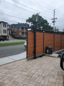Wood and Metal Sliding gate open
