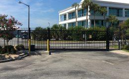aluminum slide gate in business park